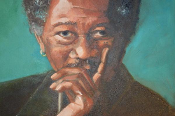 Morgan Freeman olieverfportret 30 x 40