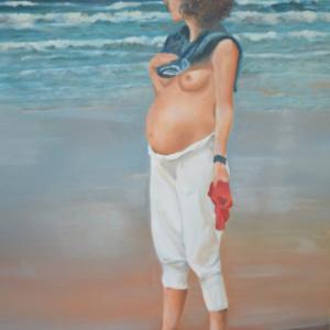zelf portret zwanger aan zee olieverf portret life size